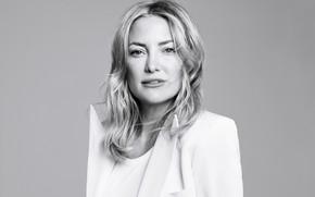 Картинка портрет, актриса, черно-белое, Kate Hudson