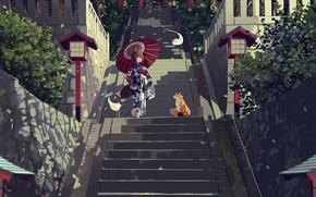 Картинка аниме, лиса, лестница, девочка