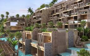 Картинка дизайн, пальмы, архитектура, langkawi, MOUNTAIN RESORT HOTEL