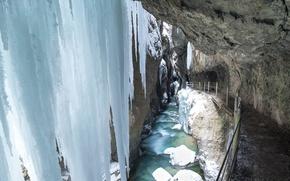 Картинка зима, природа, река, ручей, сосульки, Германия, Бавария, ущелье, Гармиш-Партенкирхен, Partnachklamm