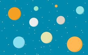 Обои круг, небо, точка, звезды, текстура, краски, планеты