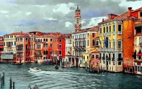 Обои Венеция, Italy, Здания, Italia, Art, Гранд Канал, Дома, Арт, Grand Canal, Рисунок, Италия, Venice, Venezia