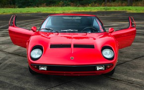 Картинка Красный, Авто, Lamborghini, Ретро, Машина, Капот, Ресницы, 1969, Двери, Фары, Автомобиль, Суперкар, Miura, Lamborghini Miura, …