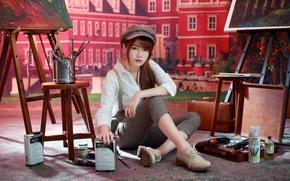 Картинка девушка, краски, азиатка, кисти, художница