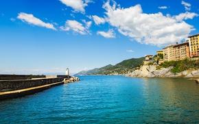 Картинка море, пляж, берег, Италия, Italy, travel, Camogli, Liguria, basilica