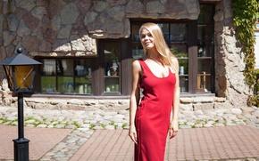 Картинка модель, двор, блондинка, фонарь, Davina, Darina Nikitina