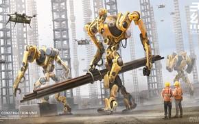 Картинка трубы, работа, стройка, роботы, Construction yard, TIEN WANG