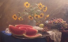 Картинка цветы, стол, арбуз, виноград, Натюрморт в розовом свете