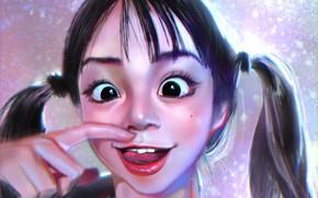Картинка девушка, азиатка, два хвостика, Red_Name