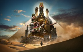 Картинка Egypt, Bayek, Assassin's Creed: Origins, fantasy art, Julius Caesar, Pyramids of Giza, digital art, artwork, ...