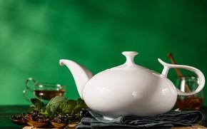 Картинка лимон, чай, чайник, заварка