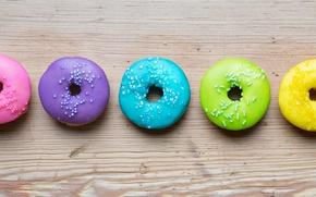 Обои пончики, colorful, глазурь, donuts, rainbow