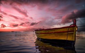 Картинка море, облака, лодка, Италия, зарево, Сицилия, Марцамеми