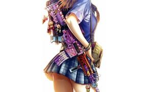 Картинка девушка, юбка, автомат, школьница, anime, background, color, school girl