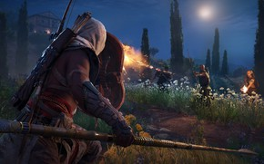 Картинка game, weapon, man, fight, Assassin's Creed, assassin, bow, shield, arrow, spear, hood, Assassin's Creed Origins