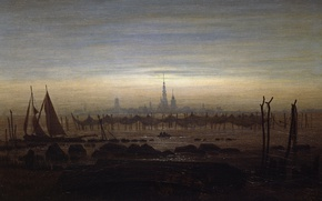 Обои пейзаж, парус, Грайфсвальд в Лунном Свете, башня, сети, город, Каспар Давид Фридрих, лодка, картина