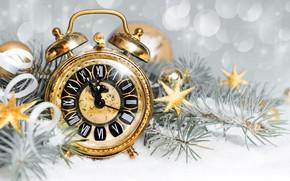 Картинка праздник, Снег, Часы, Новый год, Ветки ели