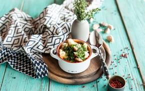 Картинка зелень, еда, суп, первое блюдо, сухарики