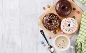 Обои coffee, глагурь, donuts, чашка кофе, пончики