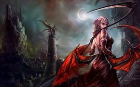 Картинка dark, demon, girl, moon, fantasy, tower, dress, night, wings, angel, artwork, fantasy art, sickle, bare ...