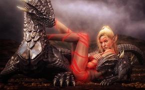 Обои девушка, эльф, драконы, тату
