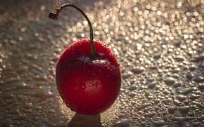 Картинка капли, макро, красный, вишня, ягода
