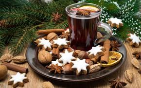 Картинка палочки корицы, Рождественский напиток, имбирные пряники