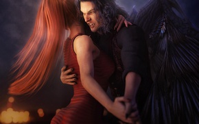 Картинка red, red hair, redhead, vampire, fang, bite, Girl Dancing With Vampire