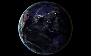 Обои огни, планета, Земля, Азия, Индийский океан