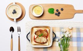 Обои помидоры, лимон, чай, тосты, курица, овсянка, черника, ягоды, сыр, хлеб, еда, завтрак, филе, мясо