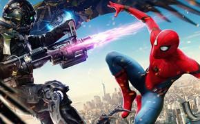 Картинка city, cinema, spider, fire, flame, gun, armor, weapon, Iron Man, man, boy, Marvel, movie, Spider-man, …