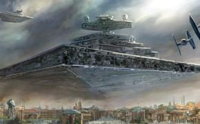 Обои Artwork, TIE Fighter, Star Destroyer, Star Wars, Галактическая Империя, Звёздный разрушитель