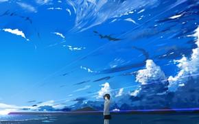 Картинка море, небо, девушка, горы, природа