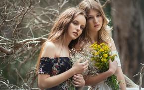 Картинка цветы, ветки, девушки, настроение, пара, две девушки, Cláudia Seguí, Marina Rodrigo