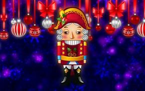 Картинка Зима, Минимализм, Новый Год, Рождество, Фон, Украшение, Праздник, Настроение, Щелкунчик