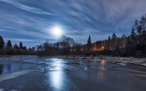 Картинка небо, отражение, река, лёд