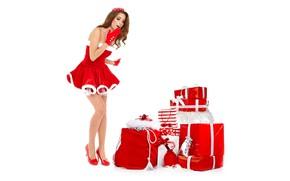 Картинка поза, праздник, новый год, рождество, макияж, фигура, стройная, платье, прическа, туфли, подарки, белый фон, перчатки, …