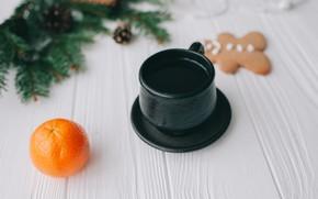 Картинка кофе, Мандарин, пряник, Ветка ели