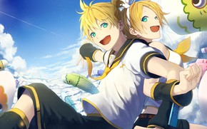 Картинка небо, аниме, арт, двое, Vocaloid, Вокалоид, персонажи