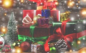 Картинка праздник, игрушки, новый год, ель, подарки, украшение, банты