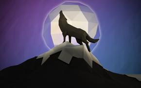 Картинка луна, гора, волк, вой