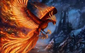 Картинка замок, скалы, пламя, птица, крылья, фэнтези, арт, феникс