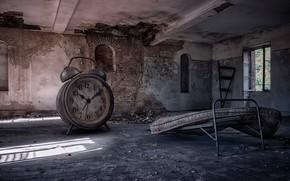 Обои будильник, кровать, время, часы, помещение