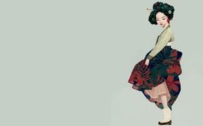 Обои гейша, Korean geisha, девушка, арт, Siwoo Kim