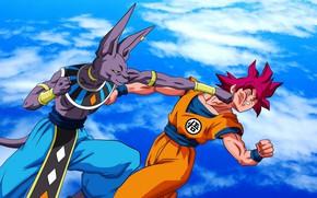Картинка DBS, game, alien, anime, cloud, fight, punch, manga, god, Son Goku, powerful, Dragon Ball, strong, …