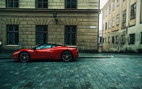 Обои street, red, supercar, Ferrari, cobblestone, city, building, Ferrari 458, car, Ferrari 458 Italia, urban