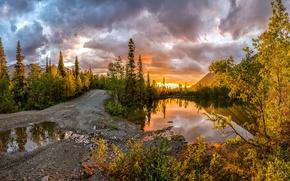 Картинка дорога, деревья, закат, горы, озеро, лужа, Россия, Хибины, Кольский полуостров