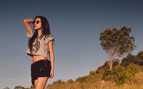 Картинка небо, трава, солнце, деревья, шорты, макияж, склон, майка, фигура, брюнетка, очки, прическа, кусты, на природе, …
