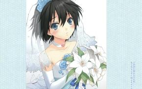Картинка букет, голубые глаза, невеста, фата, art, свадебное платье, idolmaster cinderella girls, CUTEG, Mokoto Kikuchi