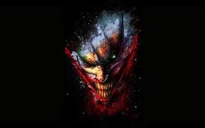 Картинка fantasy, minimalism, eyes, smile, background, man, Joker, comics, face, artwork, black background, fantasy art, grin, …
